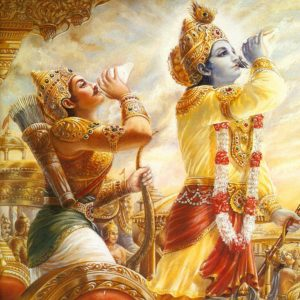 Krishna and Arjuna Blowing Conches